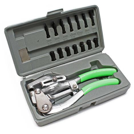 Pince emporte pièces Découpe pour carrosserie Coffret de 16pcs. Estampage perforation de tôle