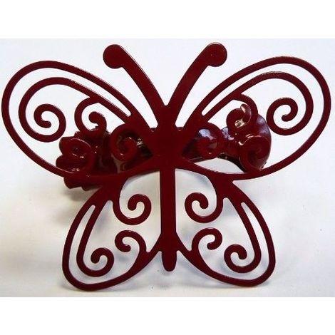 Pince métal papillon Rouge foncé