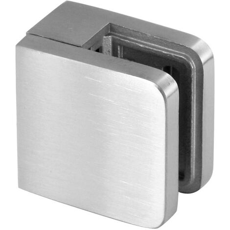 Pince Verre Carré M01, pour Verre 6-6,76mm, 45x45mm,inox brossé, fixation sur plat AISI 304