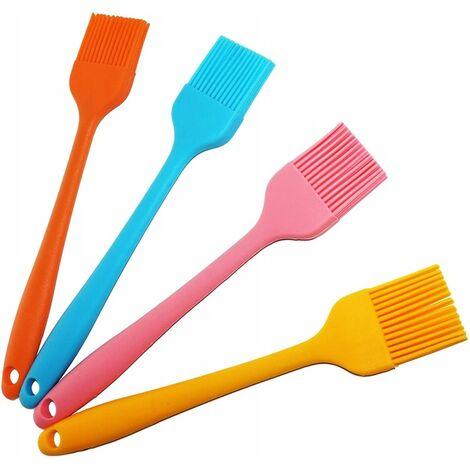 Pinceau en silicone petit pinceau couleur unie manche en silicone pinceau à huile 21cm 4 pcs (orange / jaune / bleu / rose)