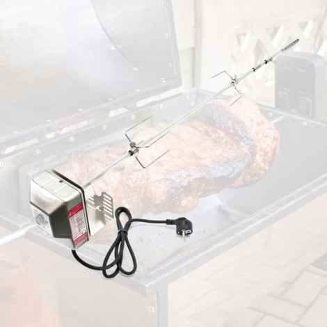 pinchos de barbacoa Grill 97cm de acero inoxidable con dos abrazaderas carne rotisserie