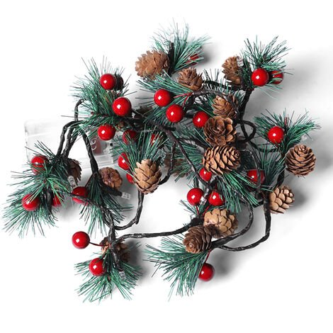 """main image of """"Pine Cones Jingle Bell LEDs Christmas String Lights 6.56ft Batterys Operated Christmas Tree Decoration Fairy Lights for Bedroom Room Indoor Outdoor Garden,model: type 2"""""""