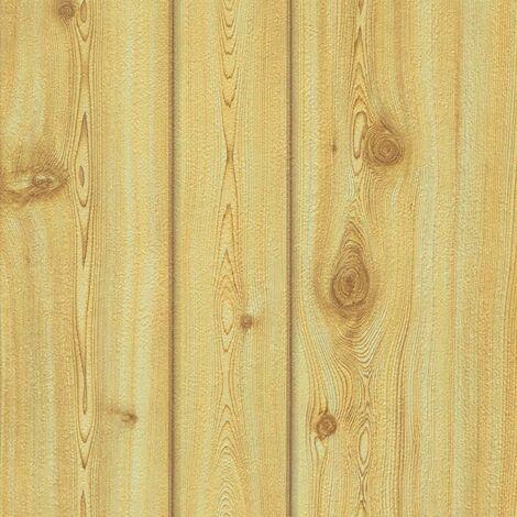 Pine Wood Effect Wallpaper Realistic Textured Wooden Plank Boards Brown Erismann