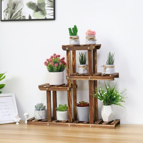 Pine Wood Plant Stand Indoor Outdoor Multiple Flower Pot Holder Shelf Rack Higher and Lower Planter Display Shelving Unit in Garden Balcony Patio