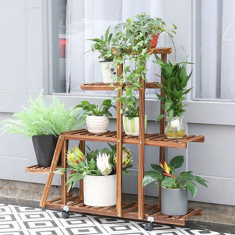 Pine Wood Plant Stand Multi Layer Flowers Shelf Rack Higher & Lower Wheeled Plant Holder