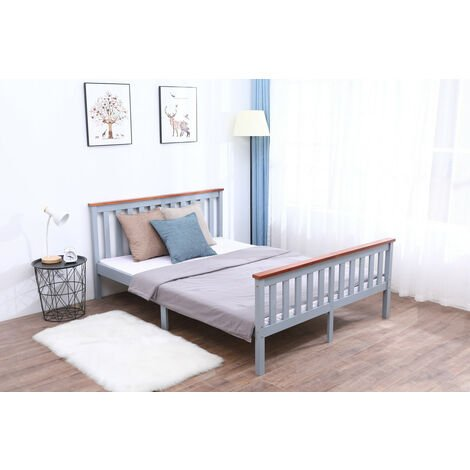Pine Wood Single/Double Bed in Grey & Oak Top with Mattress option