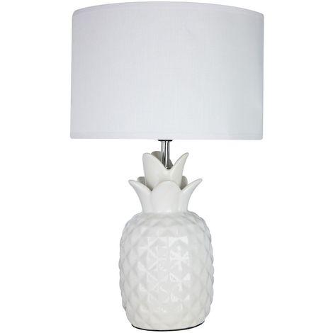 Pineapple Lamp, White Ceramic, White Fabric Shade