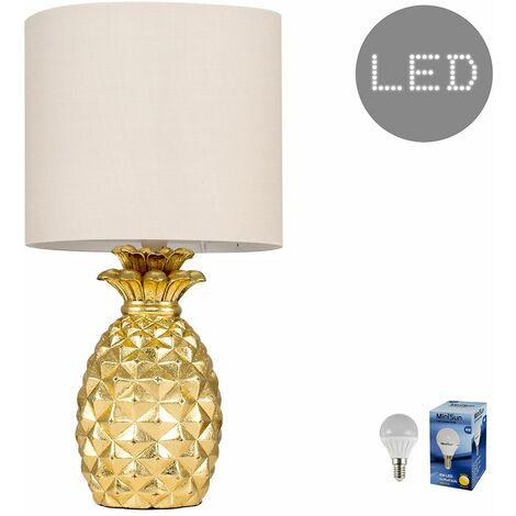 Pineapple Table Lamp - 4W LED Golfball Bulb - Black - Gold