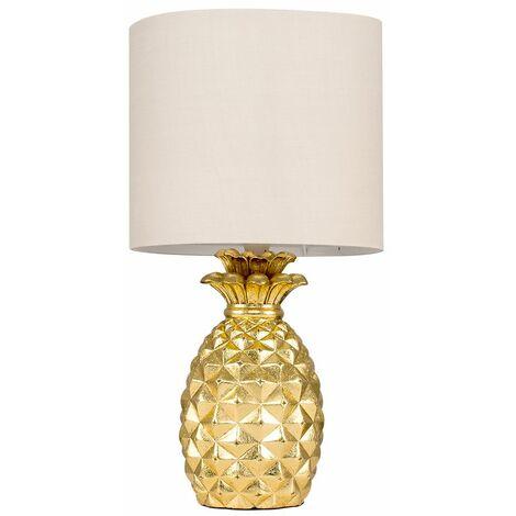 Pineapple Table Lamp - Black - Gold