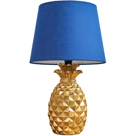 Pineapple Table Lamp In A Gold Finish + Navy Blue Shade + 4W LED Golfball Bulb Warm White - Gold