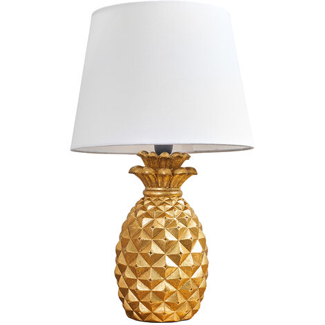 Pineapple Table Lamp In A Gold Finish + White Shade + 4W LED Golfball Bulb Warm White - Gold