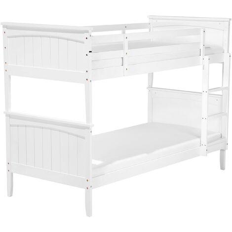 Pinewood Bunk Bed 3' EU Single 2 Person Kids Bedroom High Sleeper White Radon