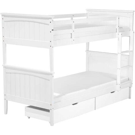 Pinewood Bunk Bed with Storage 3' EU Single Kids Bedroom Wooden White Radon