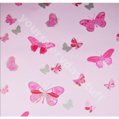 Pink Butterfly Wallpaper Metallic Silver Girls Bedroom Washable Feature Debona