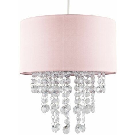Pink Ceiling Pendant Light Shade with Clear Acrylic Jewel Droplets - No Bulb