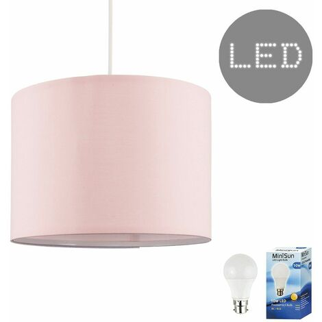 Pink Ceiling Pendant / Table Or Floor Lamp Light Shade 10W LED Gls Bulb - Warm White