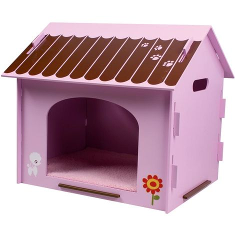 Pink coloured outdoor wooden house with drawings for dogs and cats
