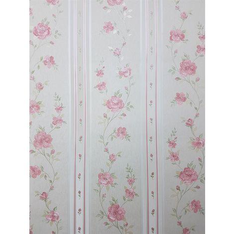 Pink Cream Floral Stripe Wallpaper Green Embossed Pre Pasted Vinyl Norwall