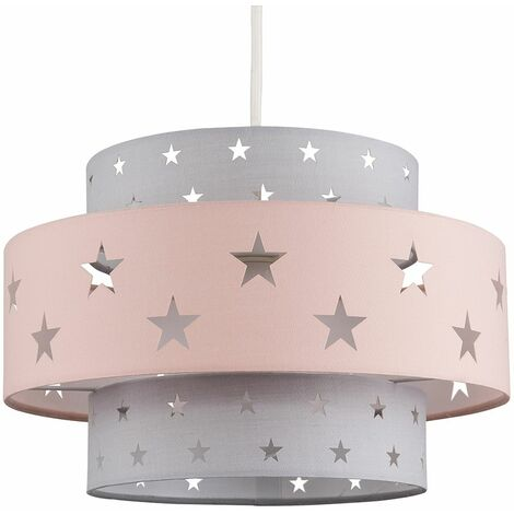 Pink & Dark Grey Cut Out Star Ceiling Pendant Light Shade 10W LED Gls Bulb Warm White - Pink