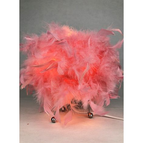 Pink Feathered Bedside Table Lamp