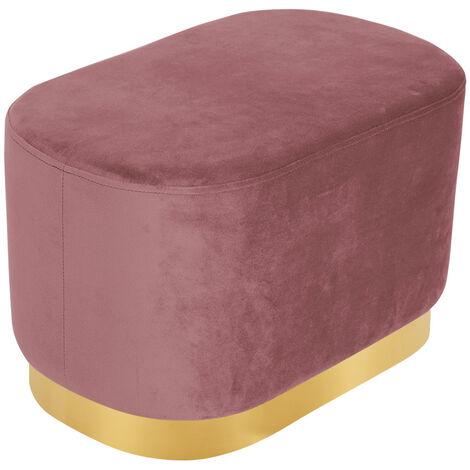 Pink Footstool Velvet Ottoman Stool Pouffe Foot Rest Gold Metal Rim