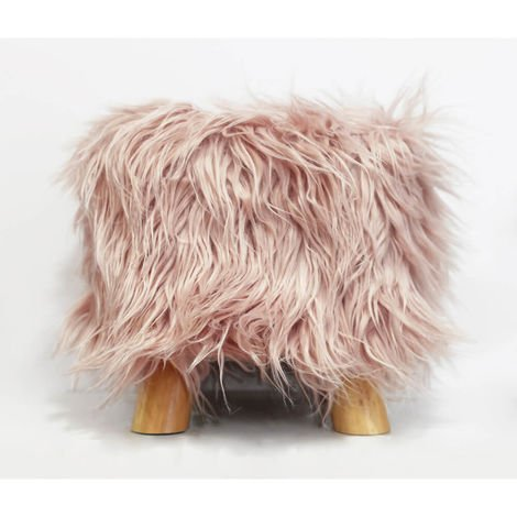 Pink Furry Foot Stool