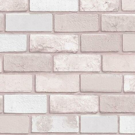 Pink Glitter Brick Effect Wallpaper Debona Textured Vinyl Sparkle