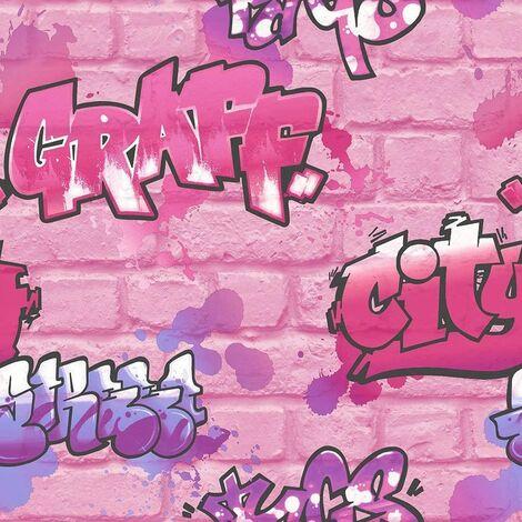 PINK GLITTER GRAFFITI WALLPAPER URBAN BRICK WALL TEENAGE GIRLS WALLPAPER 272918