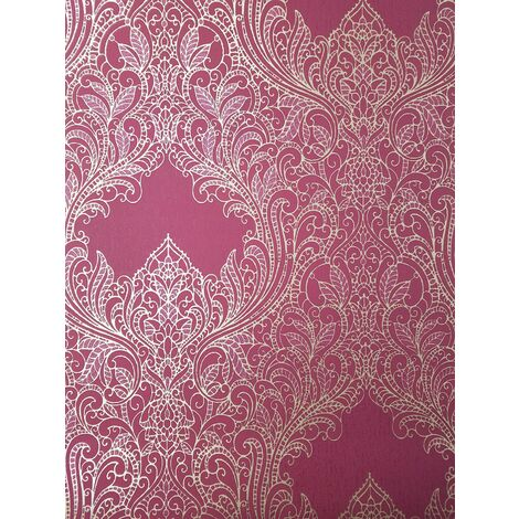 Pink Gold Damask Wallpaper Glitter Suede Effect Floral Leaf Retro Rasch Incanto