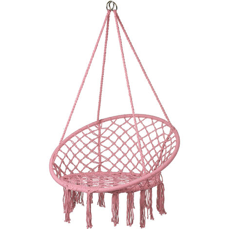 Pink hanging hammock chair