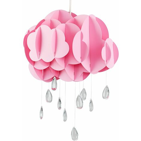 Pink Layered Rain Cloud Ceiling Pendant Light Shade with Acrylic Jewel Raindrop Water Droplets