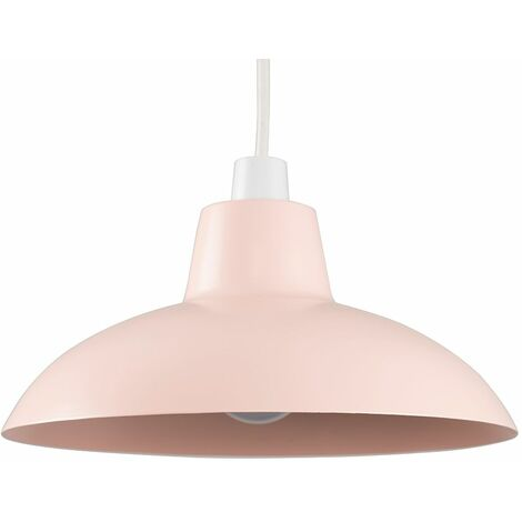Pink Metal Easy Fit Ceiling Pendant Light Shade 10W LED Bulb Warm White - Pink