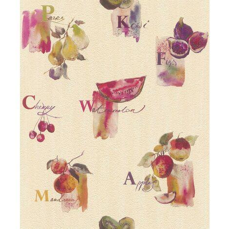 Pink Purple Fruit Motif Wallpaper Rasch Embossed Vinyl Kitchen Textured