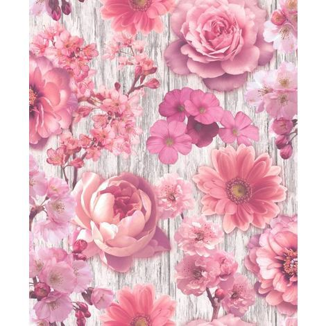 Pink Rose Wallpaper Petal Flowers Floral Wood Effect Silver Glitter Gerbera