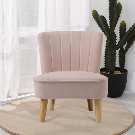 """main image of """"Pink Velvet Accent Dining Chair Shell Scallop Seat Kids Children Armchair Bedroom"""""""