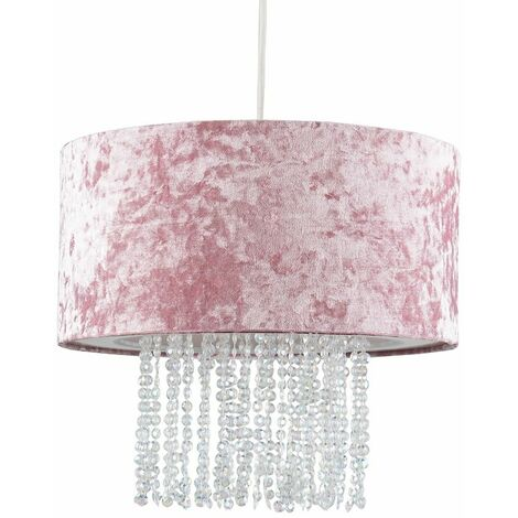 Pink Velvet Ceiling Pendant Light Shade With Clear Acrylic Droplets