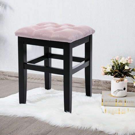 Pink Velvet Padded Chair Makeup Dressing Table Stool Vanity Seat