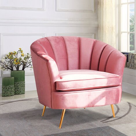 Pink Velvet Shell Tub Chair With Cushion