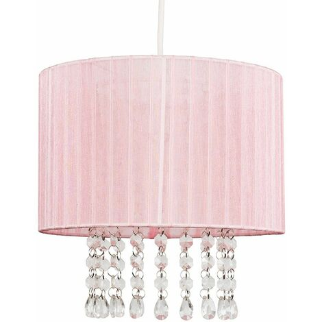 Pink Voile Ribbon Wrapped Pendant Shade With Acrylic Droplets 10W LED Gls Bulb Warm White