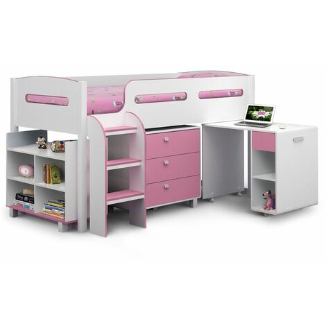 Pink & White Cabin Bed 3ft (90cm)