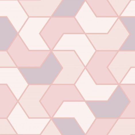 Pink White Geometric Hexagon Wallpaper Metallic Sheen Glitter Modern Rasch