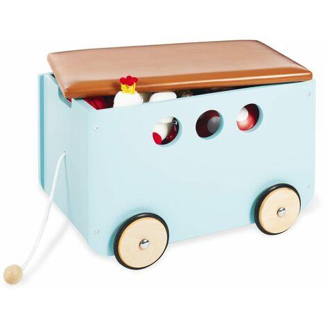 Pinolino Baúl para juguetes con ruedas Jim azul