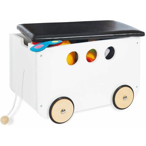 Pinolino Baúl para juguetes con ruedas Jim blanco