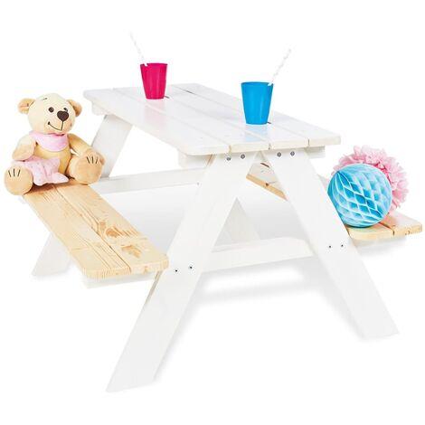 Pinolino Kid's Picnic Table with Bench Nicki für 4 Wood White - White