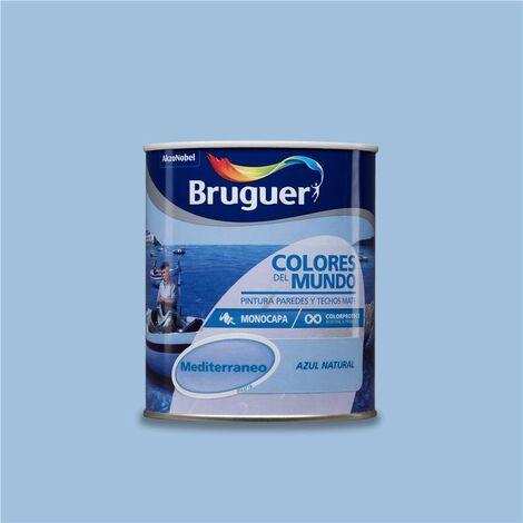 Pintura Monocapa Bruguer Colores del Mundo Mediterráneo Azul Natural 750ml