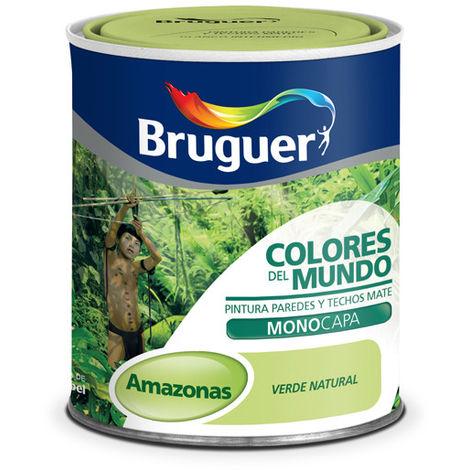Pintura Plástica Amazonas Verde Intermedio - Colores del Mundo 750 Ml 975096333