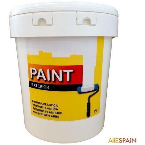Pintura plástica blanca lavable para exterior de 15 litros