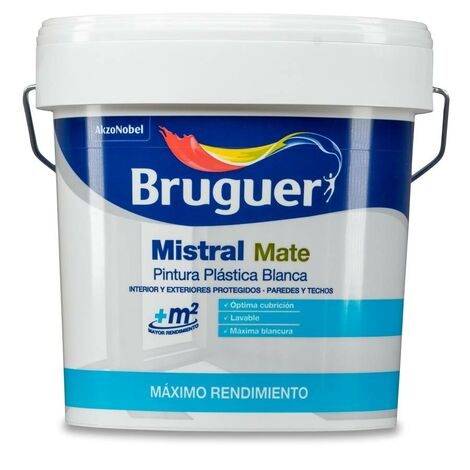Pintura Plástica Blanca para Interior y Exterior Bruguer Mistral 15L