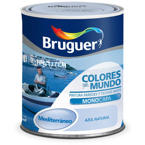 Pintura Plástica Mediterran Azul Suave - Colores del Mundo 750 Ml 975098233