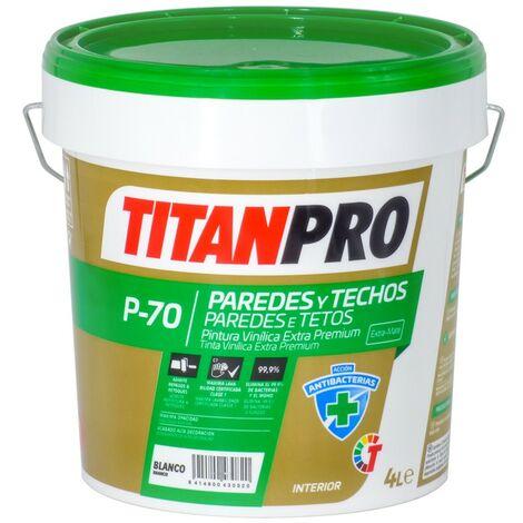 Pintura vinílica Extra Premium Antibacterias P70 Blanco mate Titan Pro
